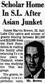 """Newspaper clipping with photo of James Marvin Brown: """"Scholar Home In S.L. After Asian Junket"""". The Salt Lake Tribune. 22 August 1957. p. 22."""