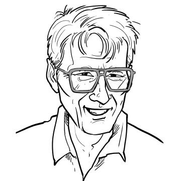 An illustrated portrait of Dr. J. Marvin Brown (1925-2002), the originator of Automatic Language Growth (ALG), as he may have appeared in the 1980s.