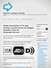 Audio description and language learning article