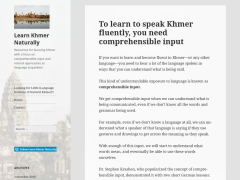 Learn Khmer Naturally Natural Khmer website comprehensible input article