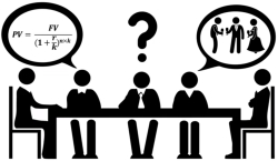 A second language learner sitting at a meeting table appears confused as others talk about abstractions and things that happened elsewhere.