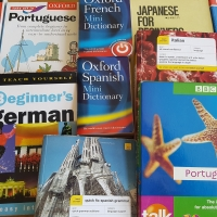 Various language learning materials: Courses, dictionaries, and grammar books.